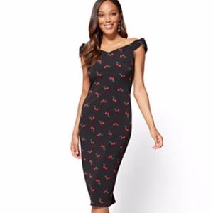 New York & Company Off Shoulder Cherry Dress SizeL